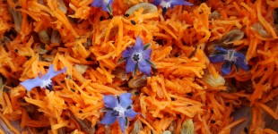 worteltjessalade met eetbare bloemen