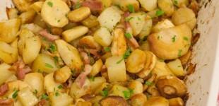 geroosterde pastinaak en aardappel met spekjes